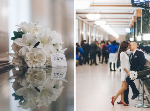 Couple poses at the NYC marriage bureau before their wedding ceremony. Captured by NYC City Hall wedding photographer Ben Lau.