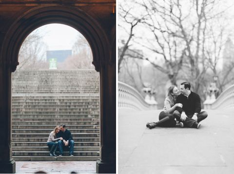 An engaged couple sits together, during their engagement session in Central Park, with NYC wedding photographer Ben Lau.