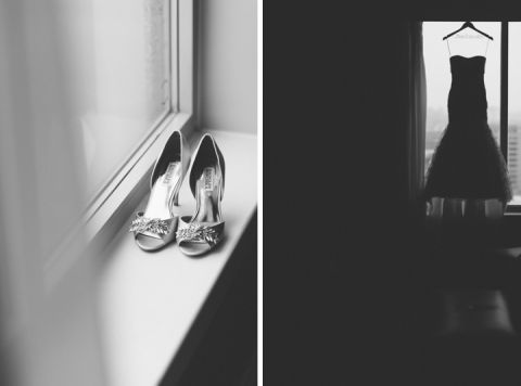 Wedding shoes and wedding dress for a wedding at the Franklin Institute in Philadelphia. Captured by NYC wedding photographer Ben Lau.