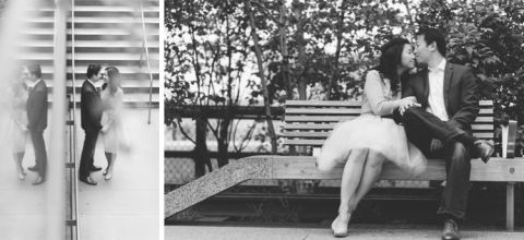 Engagement session at the High Line in NYC. Captured by NYC wedding photographer Ben Lau.