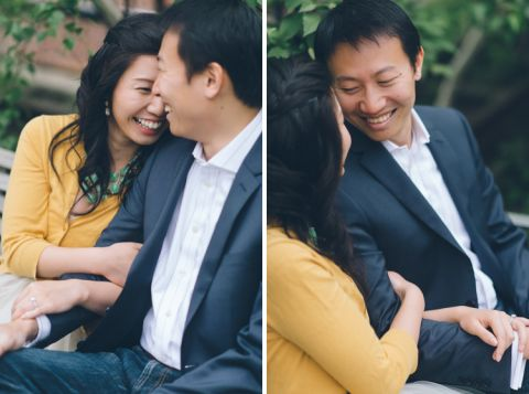 A couple shares a moment together during their engagement session at the High Line in NYC. Captured by NYC wedding photographer Ben Lau.