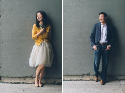 Alyssa and Gary's solos against a wall during their engagement session at the High Line in NYC. Captured by NYC wedding photographer Ben Lau.