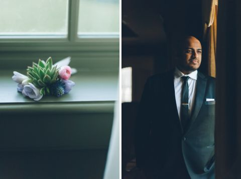 Groom stands by a window on the morning of his wedding at Normandy Farms in Blue Bell, PA. Captured by Philadelphia wedding photographer Ben Lau.