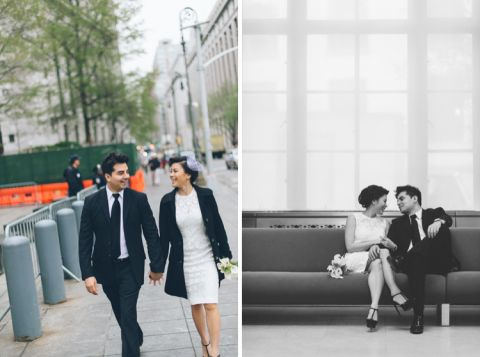 Couple walking on their way to the NYC's marriage bureau. New York City Hall Wedding captured by NYC wedding photographer Ben Lau.