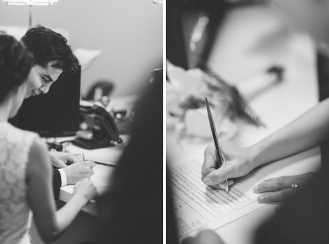 Signing documents at NYC's marriage bureau. New York City Hall Wedding captured by NYC wedding photographer Ben Lau.