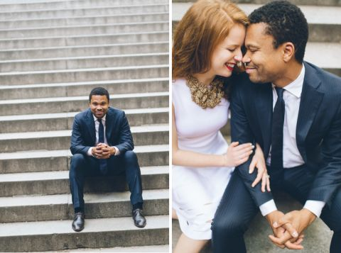 Sunrise engagement session in NYC. Captured by NYC wedding photographer Ben Lau.