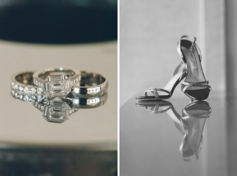 Wedding rings and shoes for a wedding at Pier 60 & The Lighthouse. Captured by NYC wedding photographer Ben Lau.