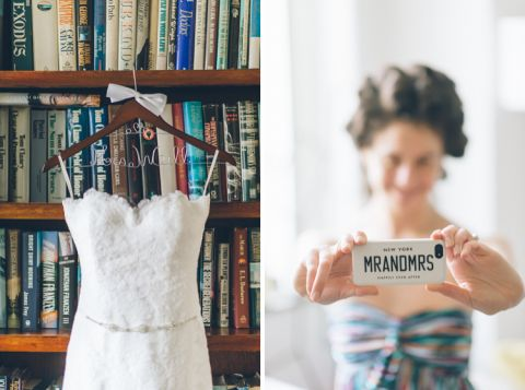 Wedding dress and bride prep for her wedding at Pier 60 & The Lighthouse. Captured by NYC wedding photographer Ben Lau.
