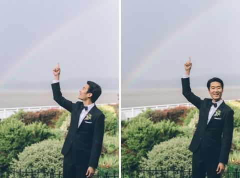 Rainbow on a wedding day in Piermont, NY. Captured by Northern NJ wedding photographer Ben Lau.