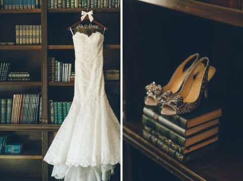 Dress and shoes for Alison's wedding at The Palace at Somerset Park. Captured by Northern NJ wedding photographer Ben Lau.