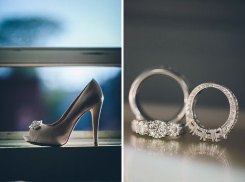 Wedding rings and wedding shoes. Captured by NYC wedding photographer Ben Lau.