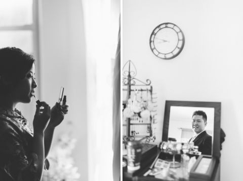 Bride prepares for her Chinese wedding in Brooklyn, NY. Captured by NYC wedding photographer Ben Lau.
