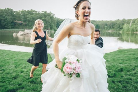 Bride is happy to see photographer.