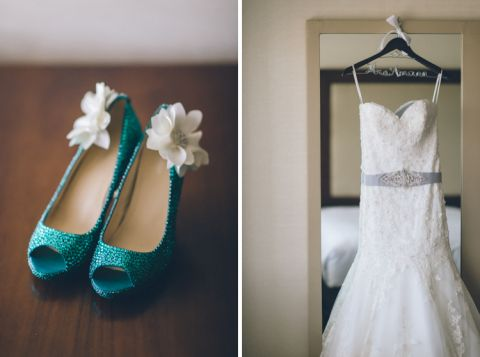 Wedding shoes and wedding dress details for a Lake Valhalla Wedding in Montville, NJ. Captured by NJ wedding photographer Ben Lau.