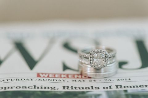 Wedding ring shot with newspaper date. Captured by NYC wedding photographer Ben Lau.