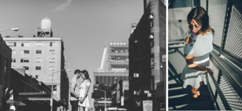 Romantic engagement session in the Meatpacking District. Captured by NYC wedding photographer Ben Lau.