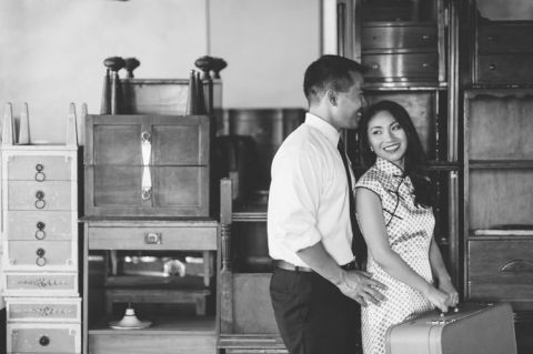 Themed engagement session at the Metropolitan Building in Long Island City. Captured by NYC wedding photographer Ben Lau.