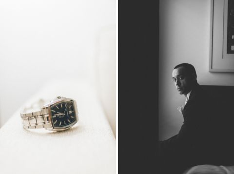 Groom prep at the Conrad hotel in NYC. Captured by NYC wedding photographer Ben Lau.