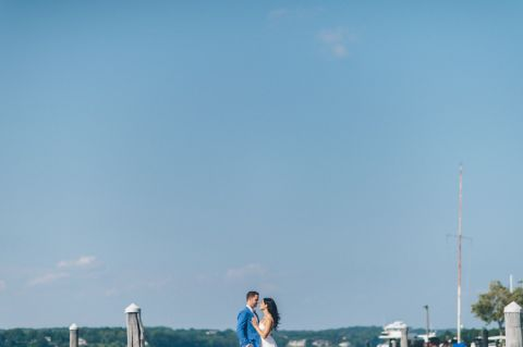 Sunset engagement session in Red Bank, NJ. Captured by NJ wedding photographer Ben Lau.
