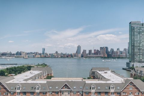 NYC skyline view from NJ. Captured by awesome NJ wedding photographer Ben Lau.