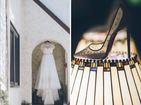 Dress and shoe shots for a wedding at the Inn at New Hyde Park. Captured by NYC wedding photographer Ben Lau.
