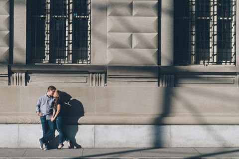 Financial District Engagement Session and DUMBO Engagement Session. Captured by NYC wedding photographer Ben Lau.