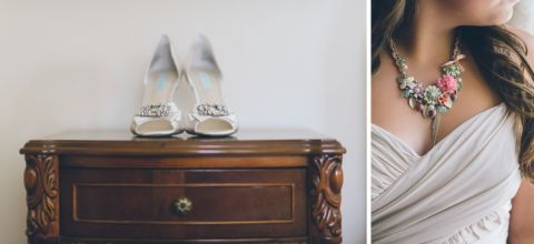 Wedding shoes and wedding jewelry for a Patriot Hills wedding in Stony Point, NY. Captured by NYC wedding photographer Ben Lau Photography.