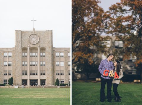 Engagement session at St. John's University. Captured by NYC wedding photographer Ben Lau.