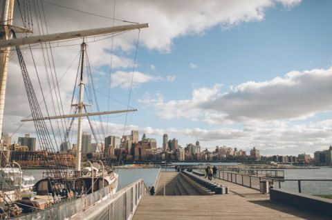 Asako and Patrick's NYC engagement session in Brooklyn captured by NYC wedding photographer Ben Lau.