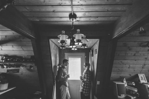 Cozy and fun cabin engagement session in Upstate NY. Captured by NJ wedding photographer Ben Lau.