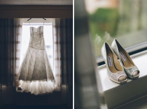 Wedding dress and shoes by the window on the morning of Julia & Josh's wedding at the Stone House in Stirling Ridge. Captured by NJ wedding photographer Ben Lau.