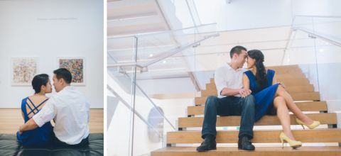 Jen & Jeff's NYC engagement session at MoMA. Captured by NYC wedding photographer Ben Lau.