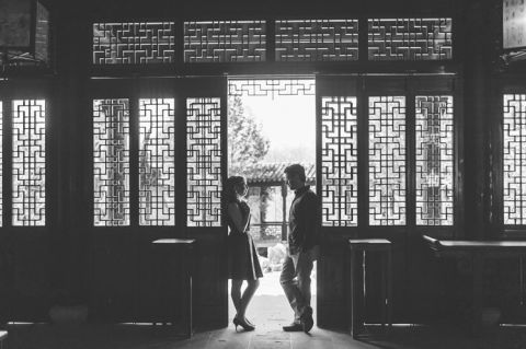 Snug Harbor engagement session in Staten Island. Captured by NYC wedding photographer Ben Lau.
