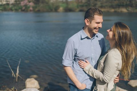 Cherry Blossoms engagement session in Montclair and Branch Brook Park. Captured by NJ wedding photographer Ben Lau.