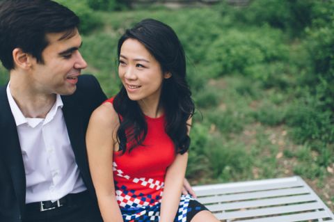 NYC engagement session on Roosevelt Island and Brooklyn, captured by NYC wedding photographer Ben Lau.