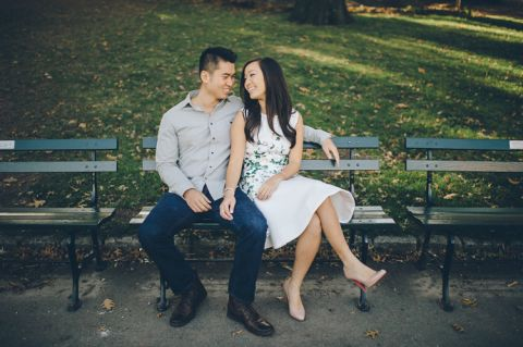 Fun engagement session in Central Park, captured by NYC wedding photographer Ben Lau.