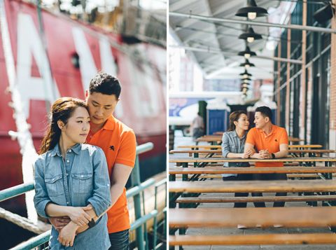 Jooyoung & Jin's NYC engagement session in South Street Seaport and DUMBO Brooklyn, captured by NYC wedding photographer Ben Lau.