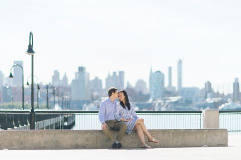 Fun engagement session in Hoboken, captured by contemporary NJ wedding photographer Ben Lau.