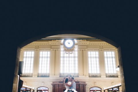 Romantic, candid engagement session in Hoboken, captured by contemporary NJ wedding photographer Ben Lau.
