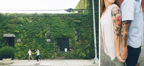 Long Island City engagement session captured by fun NYC wedding photographer Ben Lau.