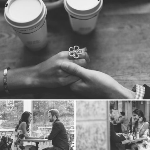 Rainy Battery Park engagement session in NYC, captured by fun NYC wedding photographer Ben Lau.