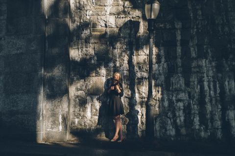 Fort Tryon Park engagement session in NYC, captured by fun and romantic NYC wedding photographer Ben Lau.