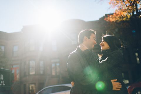 Brooklyn engagement session in the Fall, captured by photojournalistic NYC wedding photographer Ben Lau.
