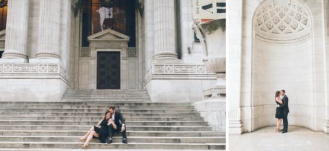 NYC engagement session at Grand Central, Bryant Park, NYPL and South Street Seaport, captured by NYC wedding photographer Ben Lau.