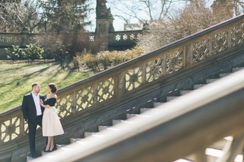 Central Park engagement session captured by photojournalistic NYC wedding photographer Ben Lau.