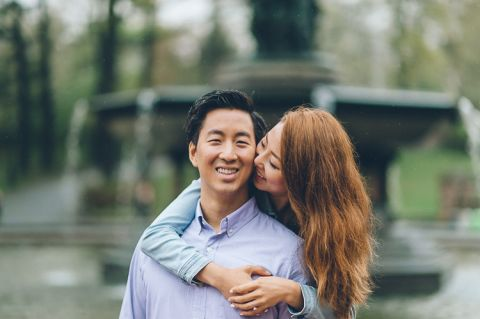 Rainy engagement session captured by photojournalistic NYC wedding photographer Ben Lau.