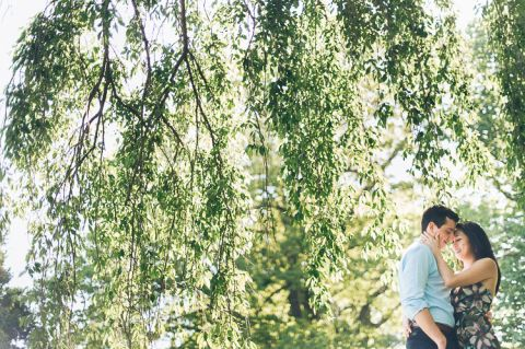 NJ Botanical Garden engagement session captured by North Jersey wedding photographer Ben Lau.