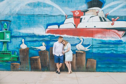 Williamsburg engagement session in Brooklyn, captured by photojournalistic NYC wedding photographer Ben Lau.
