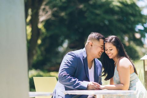 Central NJ engagement session at the Grounds for Sculpture, captured by Central Jersey wedding photographer Ben Lau.