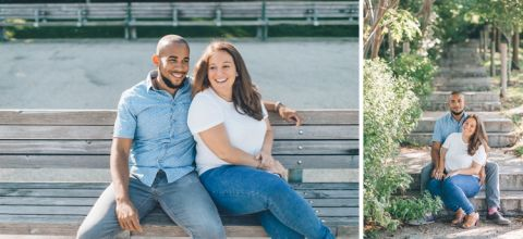 Brooklyn engagement session in DUMBO, captured by NYC wedding photographer Ben Lau.